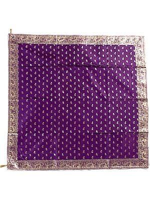 Purple Meenakari Table Cover from Banaras with Woven Elephants