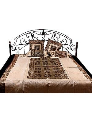 Ivory and Brown Five-Piece Single-Bed Banarasi Bedcover with Woven Flower Pots and Elephants