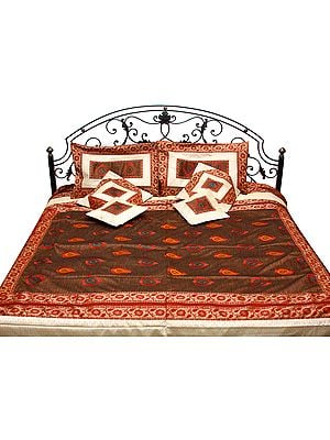 Brown and Ivory Seven Piece Banarasi Bedcover with Embroidered Bootis