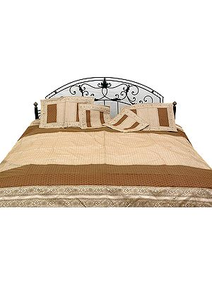 Brown and Ivory Tanchoi Bedcover from Banaras with All-Over Weave