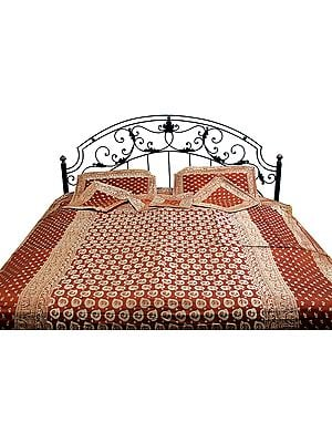 Brown Seven-Piece Banarasi Designer Bedcover with Woven Leaves