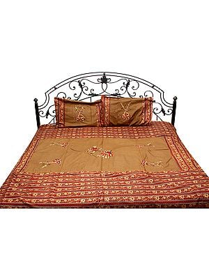 Camel-Brown Applique Bedspread with Dancing Couple