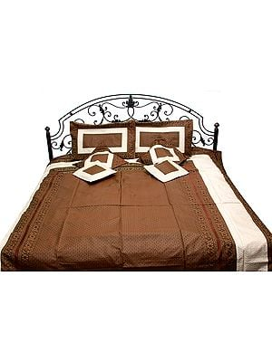 Choclate-Brown and Ivory Banarasi Bedspread with Woven Paisleys