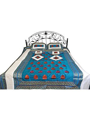 Colonial-Blue Seven-Piece Banarasi Bedspread with Woven Flowers
