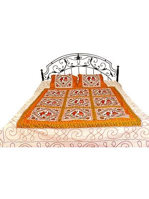 Cream and Brown Bedspread from Gujarat with Embroidered Dancing Couples