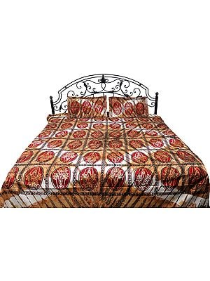 Desert-Dust Batik Shaded Bedspread from Pilkhuwa with Printed Flowers