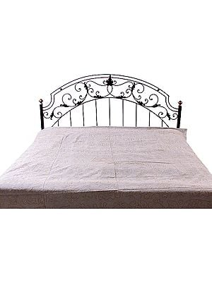 Gray Stonewash Bedspread with Embroidery in Golden Thread
