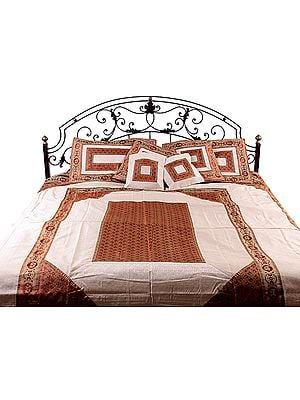 Ivory and Rust Seven-Piece Banarasi Bedcover with Woven Elephants