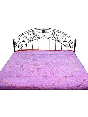 Lavender Stonewashed Bedspread with Ari-Embroidery All-Over in Golden Thread