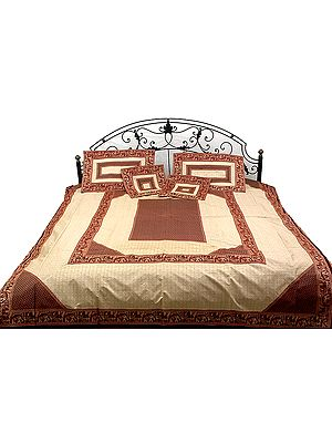 Maroon and Ivory Seven-Piece Banarasi Bedcover with Woven Elephants and Peacocks on Border