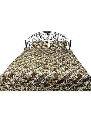 Nutria-Green Batik Bedspread from Pilkhuwa with Printed Flowers