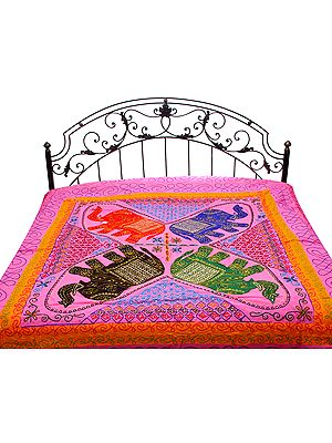 Gujarati Bedspread with Applique Elephants, Sequins and All-Over Embroidery