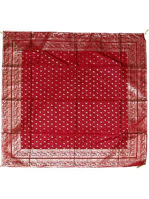 Red Meenakari Table Cover from Banaras with Woven Elephants and Peacocks