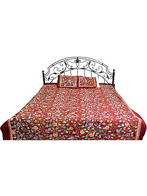 Rio-Red Bedspread with Floral Kantha Embroidery by Hand