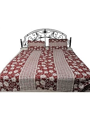 Russet-Red and Cream Floral Printed Bedspread from Pilkhuwa