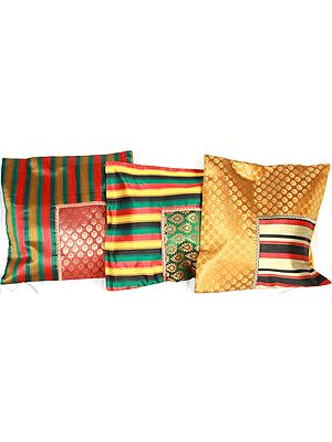Lot of Three Brocaded Cushion Covers from Banaras