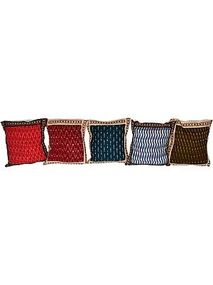 Lot of Five Cushion Covers from Hyderabad with Ikat Weave