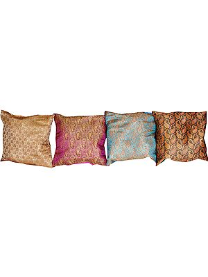 Lot of Four Brocaded Cushion Covers from Banaras