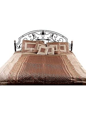 Ivory and Brown Seven-Piece Banarasi Bedcover with Brocade Weave