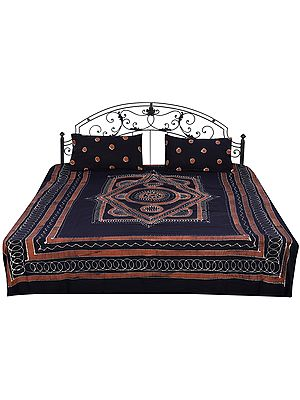 Turkish-Coffee Batik Bedspread with Printed Dots and Motifs