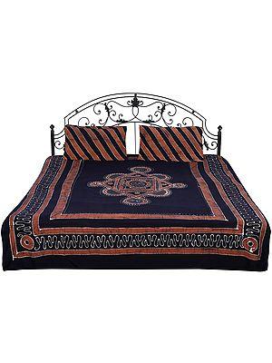 Jet-Black Batik Bedspread with Diagonal Strips and Printed Motifs