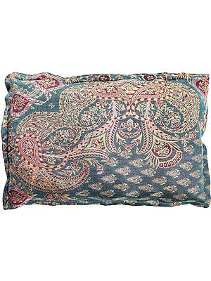 Blue-Mist Kani Jamawar Pillow Cover with Woven Paisleys and Bootis