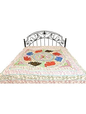 Gujarati Bedspread with Applique Elephants and Embroidered Sequins