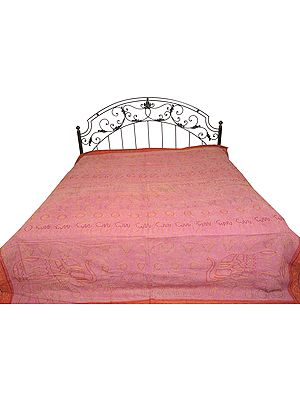 Stonewashed Bedspread from Jaipur with Zari-Embroidery