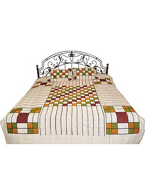 Gray Bedspread from Pilkhuwa with Printed Checks and Stripes