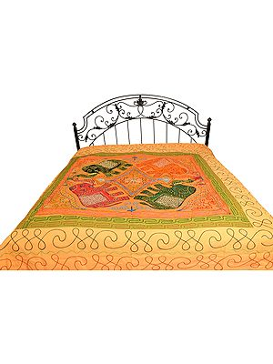 Embroidered Gujarati Bedspread with Applique Elephants and Sequins