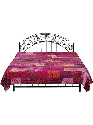 Festival-Fuchsia Bedspread from Gujarat with Printed Floral Patch Work and Kantha-Stitch