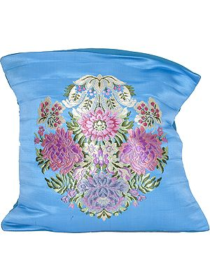 Turquoise-Blue Banarasi Cushion Cover with Hand-woven Flower Vase