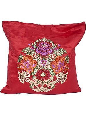 True-Red Banarasi Cushion Cover with Hand-woven Flower Vase