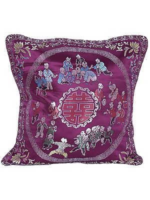 Brocaded Cushion Cover from Sikkim with Chinese Auspicious Good Luck Symbols