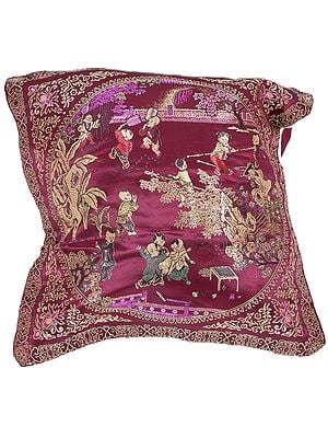 Cordovan Brocaded Cushion Cover from Sikkim with Chinese Auspicious Good Luck Symbols