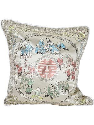 Cream Cushion Cover from Sikkim with Chinese Auspicious Good Luck Symbols
