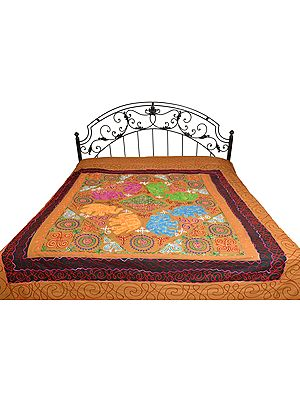 Gujarati Bedspread with Embroidery and Applique Elephants
