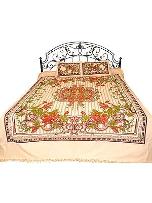 White-Smoke Bedspread from Pilkhuwa with Printed Flowers