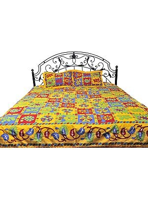 Freesia-Yellow Sanganeri Bedspread with Printed Flowers and Kantha Embroidery