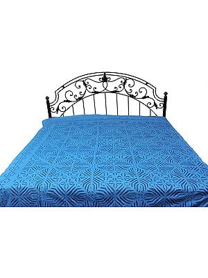 Stonewashed Bedspread with Floral Applique