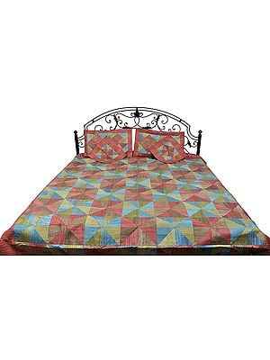 Tri-Color Five-Piece Patchwork Bedspread from Banaras