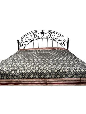 Bedspread with All-Over Woven Flowers and Wide Patch Border