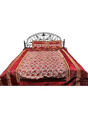 Five-Piece Banarasi Bedspread with Woven Flowers All-Over and Brocaded Border