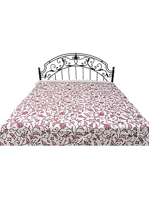 Ivory Bedspread from Kashmir with Ari-Embroidered Flowers All-Over