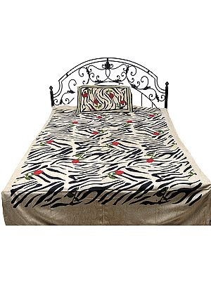 Beige Single-Bed Bedspread from Pilkhuwa with Printed Tiger Stripes and Roses