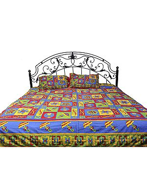 Sanganeri Bedspread with Printed Umbrellas and Kantha Stitch Embroidery