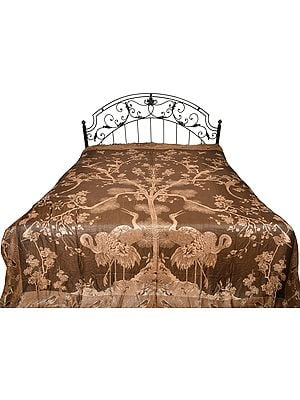Desert-Palm Reversible Jamawar Bedspread with Woven Tree of Life