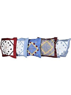 Lot of Five Cushion Covers with Thread Embroidered Flowers and Patch-Work