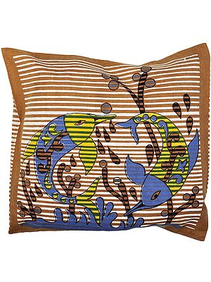 Golden-Brown Cushion Cover with Printed Fishes