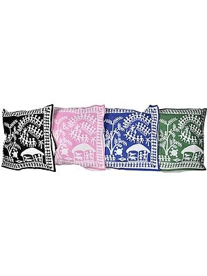 Lot of Four Cushion Covers with Printed Folk Figures Inspired by Warli Art